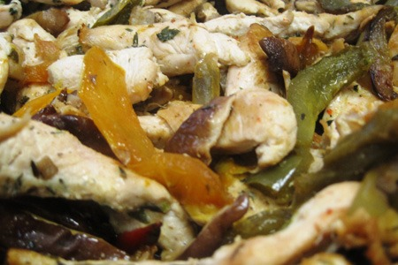 Healthy recipe with chicken peppers mushrooms