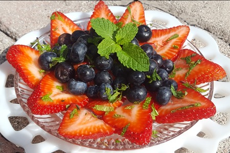 fresh summer fruit with flavored balsamic